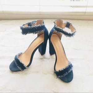 Olivia Frayed Denim Ankle Strap High Heel Sandals